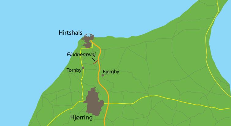 Kort over Nordjylland med Pindherrevej
