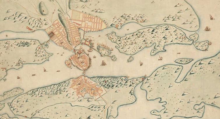 Kort fra 1600-tallet over Stockholm og omegn