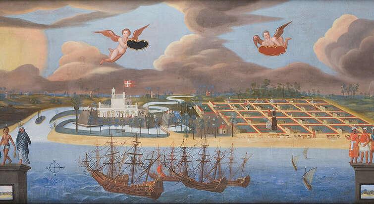 Maleri af Tranquebar fra 1650'erne